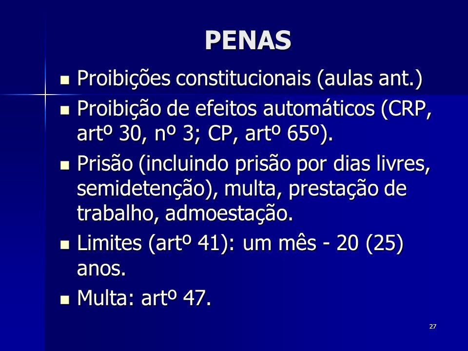27 PENAS Proibições constitucionais (aulas ant.) Proibições constitucionais (aulas ant.) Proibição de efeitos automáticos (CRP, artº 30, nº 3; CP, art