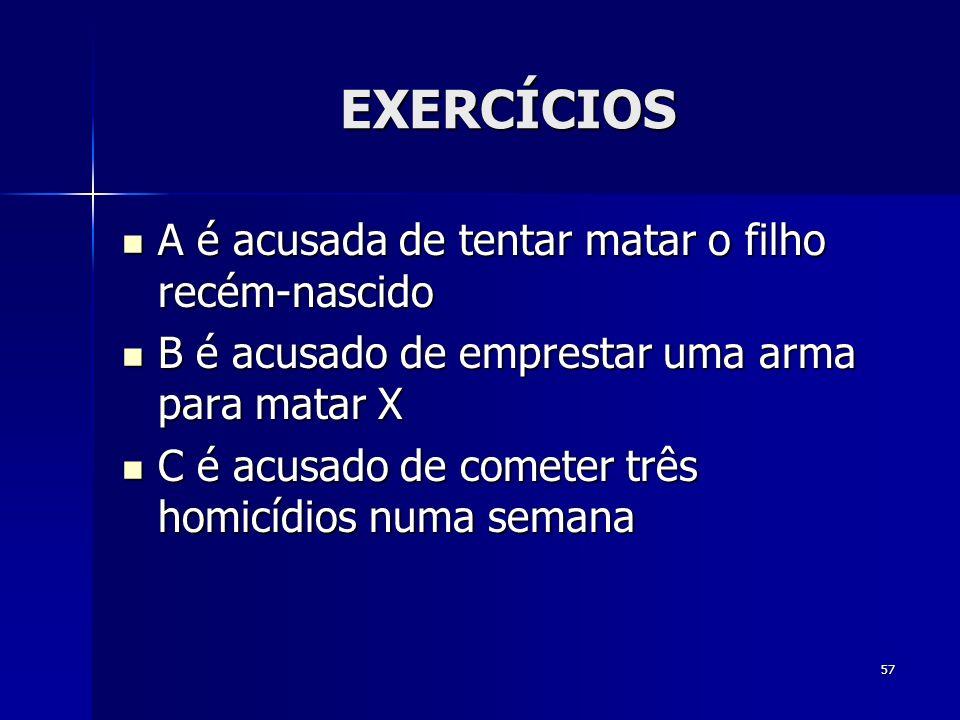 57 EXERCÍCIOS A é acusada de tentar matar o filho recém-nascido A é acusada de tentar matar o filho recém-nascido B é acusado de emprestar uma arma pa
