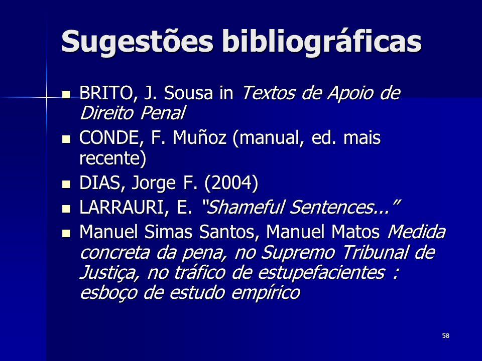 58 Sugestões bibliográficas BRITO, J. Sousa in Textos de Apoio de Direito Penal BRITO, J. Sousa in Textos de Apoio de Direito Penal CONDE, F. Muñoz (m