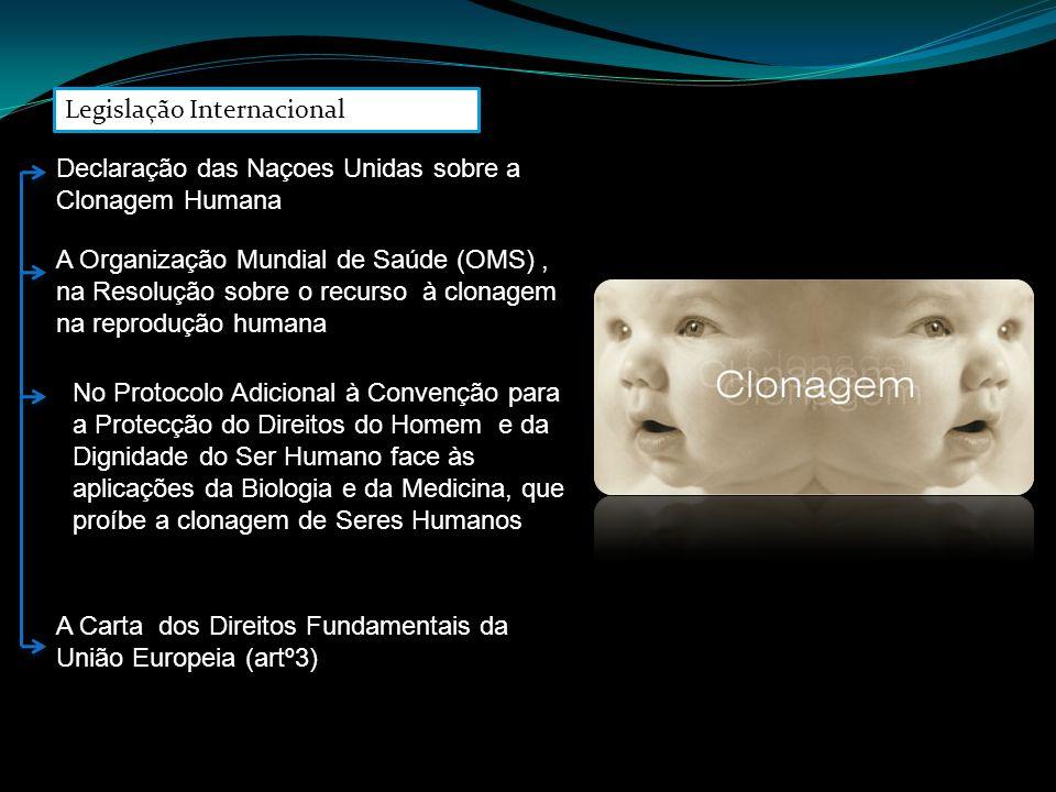 Declaração das Naçoes Unidas sobre a Clonagem Humana A Organização Mundial de Saúde (OMS), na Resolução sobre o recurso à clonagem na reprodução human
