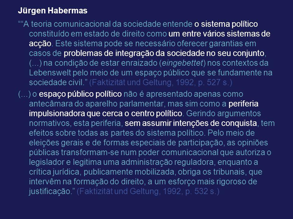 Jürgen Habermas A teoria comunicacional da sociedade entende o sistema político constituído em estado de direito como um entre vários sistemas de acçã