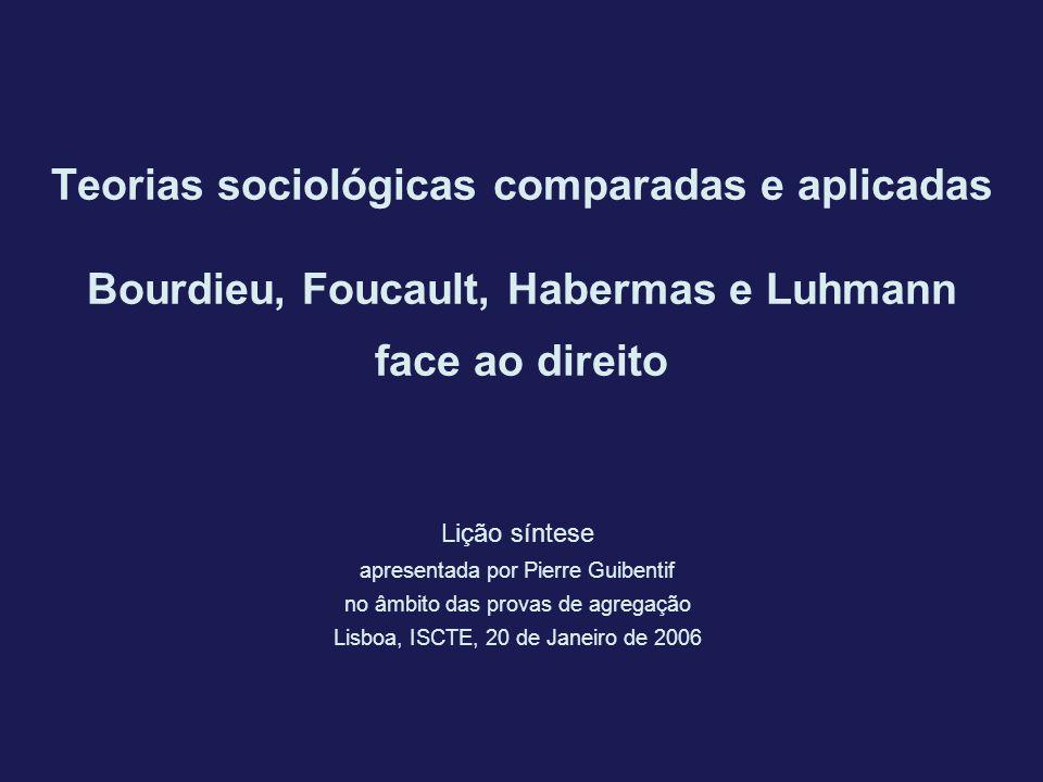 Teorias sociológicas comparadas e aplicadas Bourdieu, Foucault, Habermas e Luhmann face ao direito Lição síntese apresentada por Pierre Guibentif no â