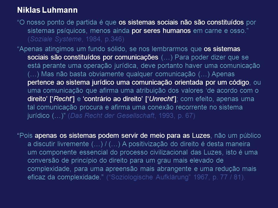 Niklas Luhmann O nosso ponto de partida é que os sistemas sociais não são constituídos por sistemas psíquicos, menos ainda por seres humanos em carne