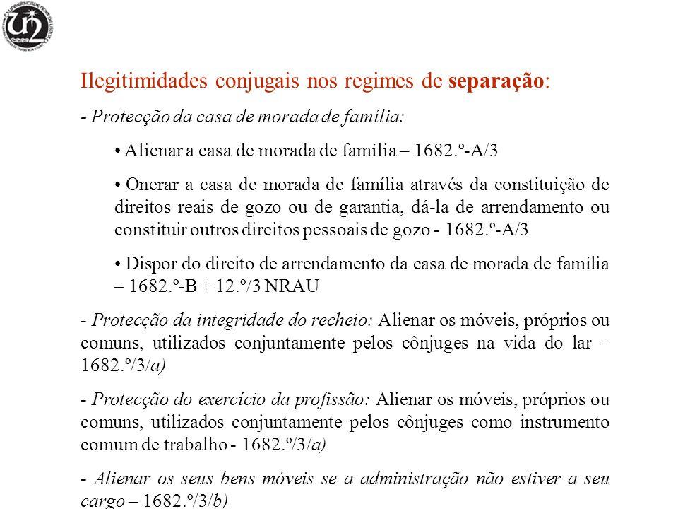 Ilegitimidades conjugais nos regimes de separação: - Protecção da casa de morada de família: Alienar a casa de morada de família – 1682.º-A/3 Onerar a casa de morada de família através da constituição de direitos reais de gozo ou de garantia, dá-la de arrendamento ou constituir outros direitos pessoais de gozo - 1682.º-A/3 Dispor do direito de arrendamento da casa de morada de família – 1682.º-B + 12.º/3 NRAU - Protecção da integridade do recheio: Alienar os móveis, próprios ou comuns, utilizados conjuntamente pelos cônjuges na vida do lar – 1682.º/3/a) - Protecção do exercício da profissão: Alienar os móveis, próprios ou comuns, utilizados conjuntamente pelos cônjuges como instrumento comum de trabalho - 1682.º/3/a) - Alienar os seus bens móveis se a administração não estiver a seu cargo – 1682.º/3/b)