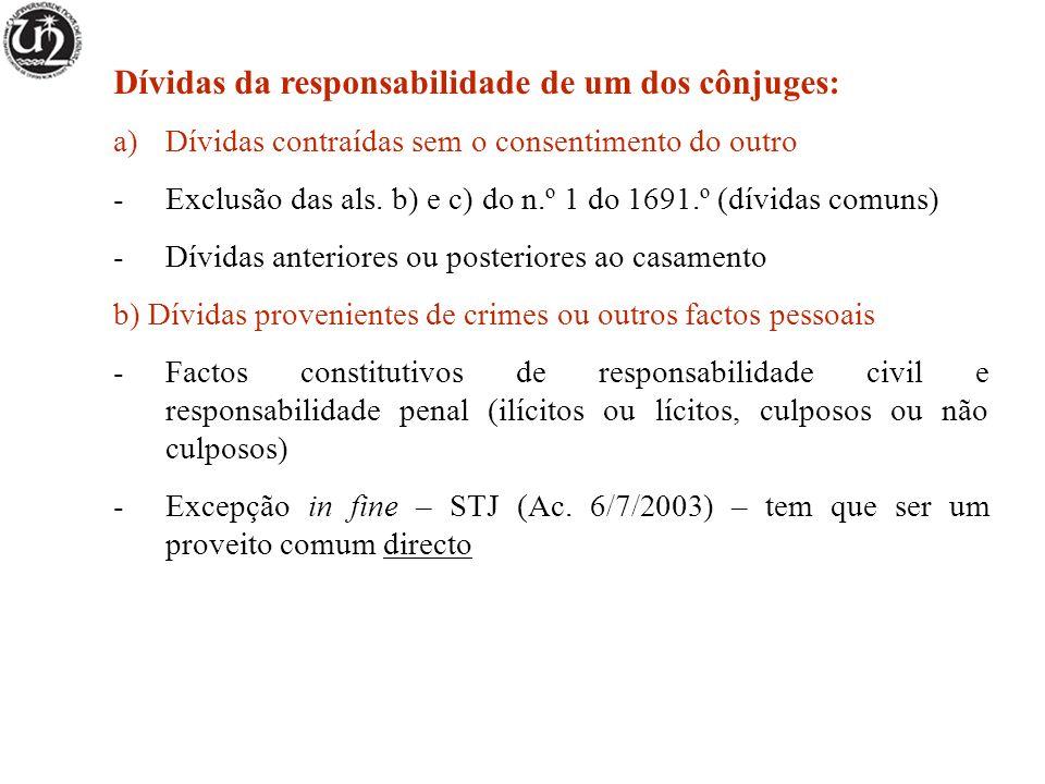 Dívidas da responsabilidade de um dos cônjuges: a)Dívidas contraídas sem o consentimento do outro -Exclusão das als.