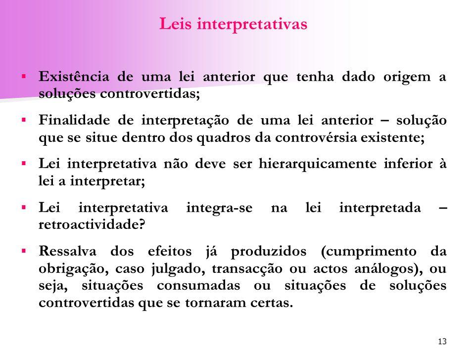 13 Leis interpretativas Existência de uma lei anterior que tenha dado origem a soluções controvertidas; Finalidade de interpretação de uma lei anterio