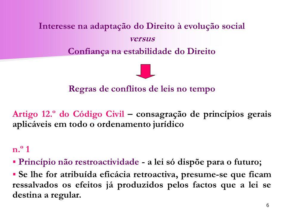6 Interesse na adaptação do Direito à evolução social versus Confiança na estabilidade do Direito Regras de conflitos de leis no tempo Artigo 12.º do
