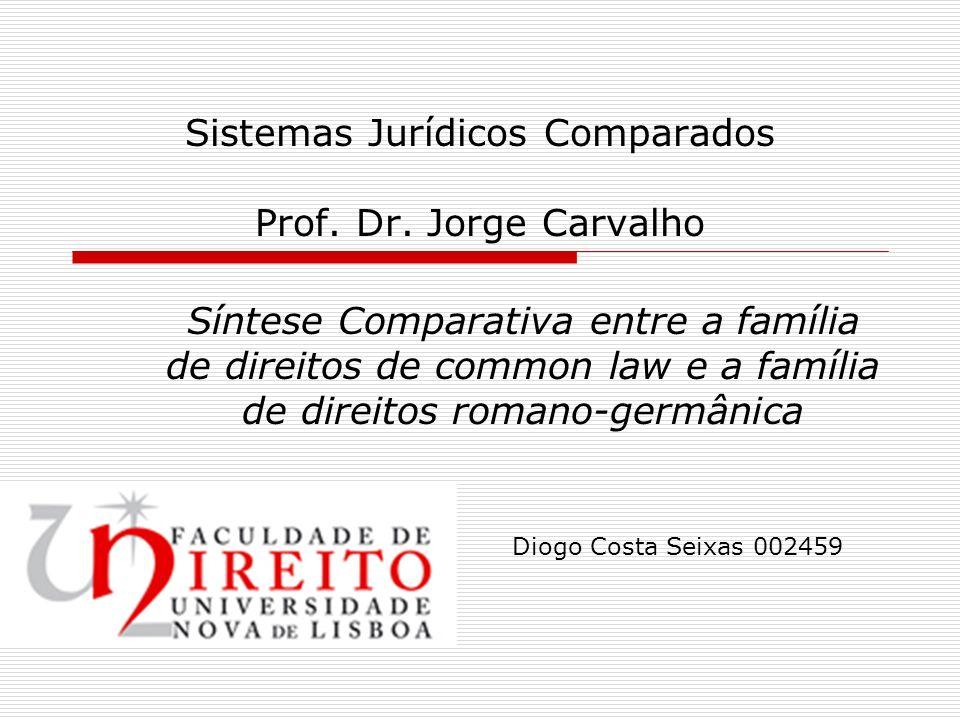 Sistemas Jurídicos Comparados Prof. Dr. Jorge Carvalho Síntese Comparativa entre a família de direitos de common law e a família de direitos romano-ge