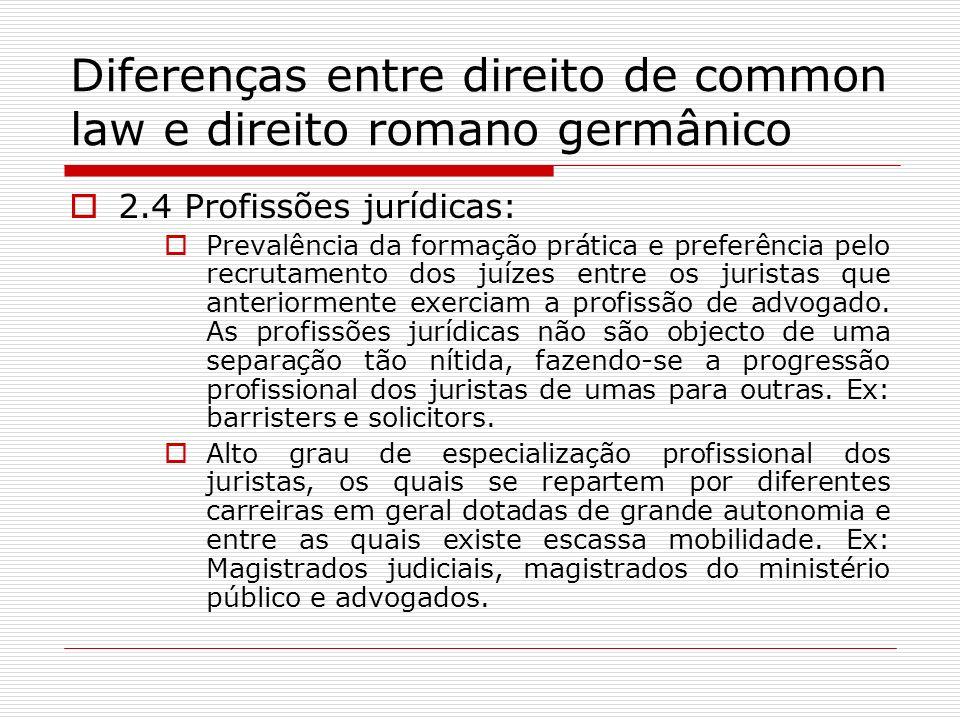 Diferenças entre direito de common law e direito romano germânico 2.4 Profissões jurídicas: Prevalência da formação prática e preferência pelo recruta