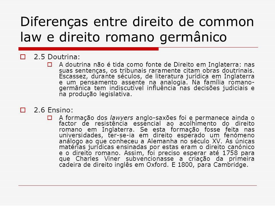 Diferenças entre direito de common law e direito romano germânico 2.5 Doutrina: A doutrina não é tida como fonte de Direito em Inglaterra: nas suas se