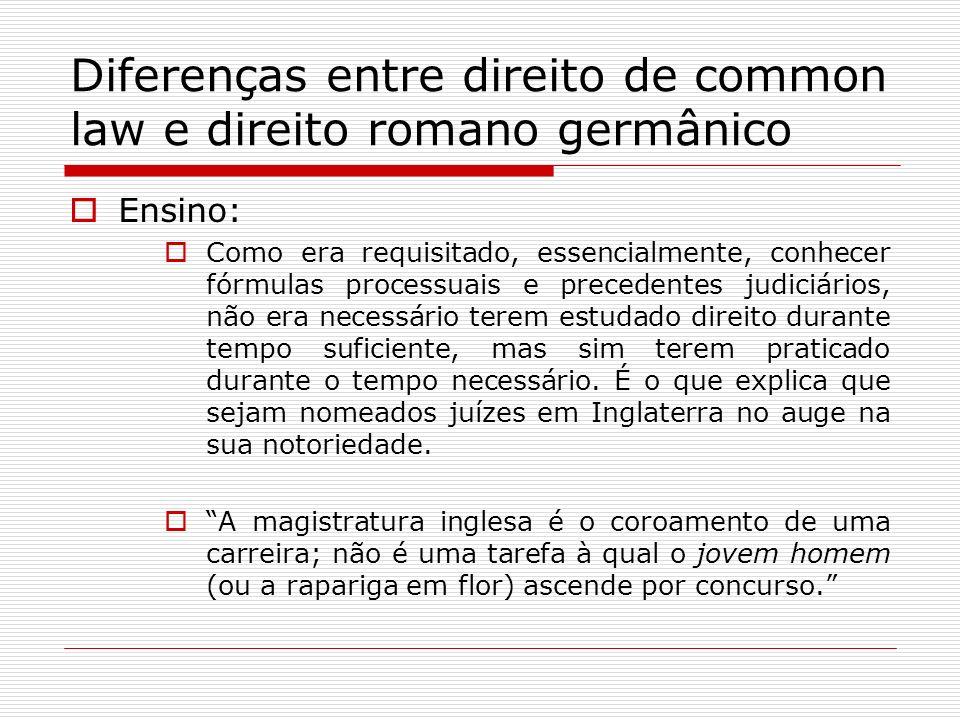 Diferenças entre direito de common law e direito romano germânico Ensino: Como era requisitado, essencialmente, conhecer fórmulas processuais e preced