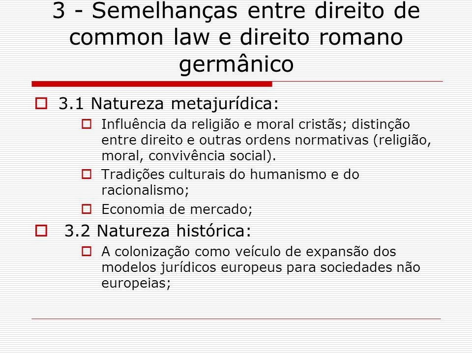 3 - Semelhanças entre direito de common law e direito romano germânico 3.1 Natureza metajurídica: Influência da religião e moral cristãs; distinção en
