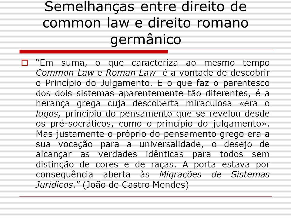 Semelhanças entre direito de common law e direito romano germânico Em suma, o que caracteriza ao mesmo tempo Common Law e Roman Law é a vontade de des