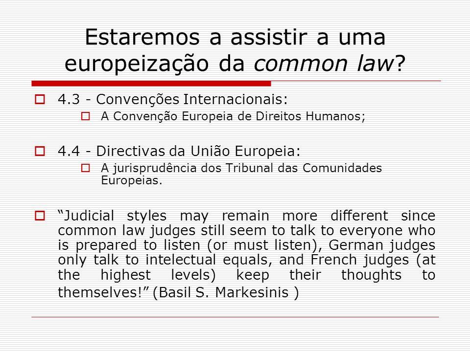 Estaremos a assistir a uma europeização da common law? 4.3 - Convenções Internacionais: A Convenção Europeia de Direitos Humanos; 4.4 - Directivas da