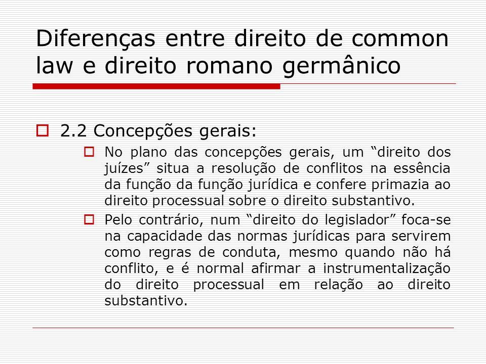 Diferenças entre direito de common law e direito romano germânico 2.2 Concepções gerais: No plano das concepções gerais, um direito dos juízes situa a