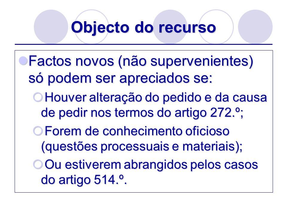 Âmbito do recurso Ampliação do objecto do recurso – 684.º-A Três tipos: 1.