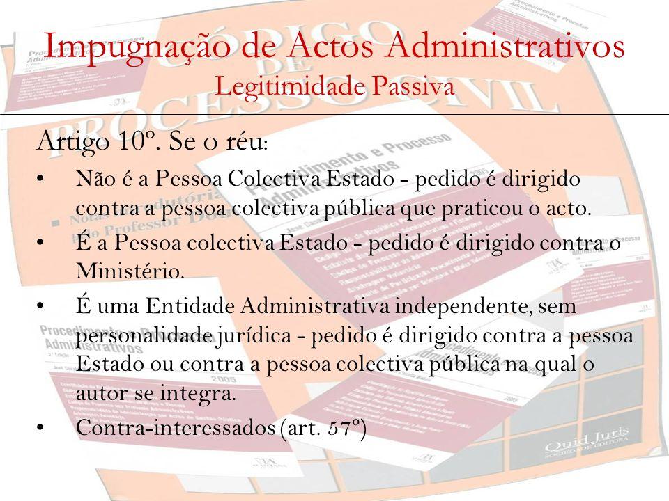 Impugnação de Actos Administrativos Legitimidade Passiva Artigo 10º. Se o réu : Não é a Pessoa Colectiva Estado - pedido é dirigido contra a pessoa co