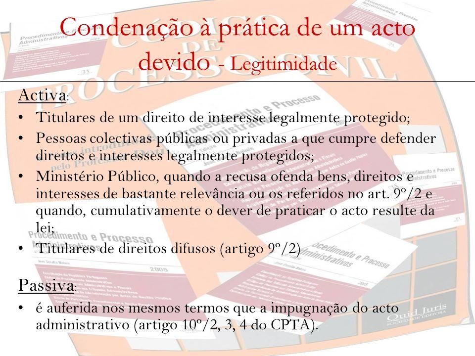 Condenação à prática de um acto devido - Legitimidade Activa : Titulares de um direito de interesse legalmente protegido; Pessoas colectivas públicas
