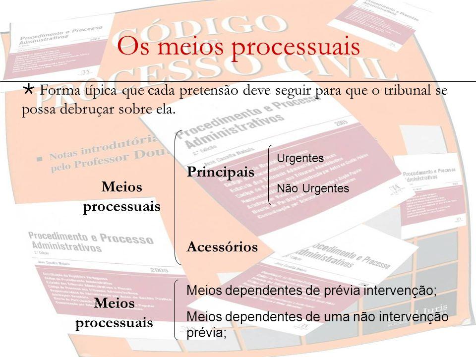 Os meios processuais Forma típica que cada pretensão deve seguir para que o tribunal se possa debruçar sobre ela. Principais Urgentes Não Urgentes Ace
