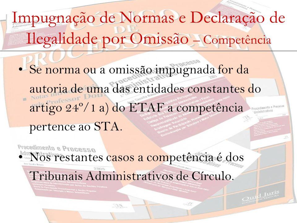 Impugnação de Normas e Declaração de Ilegalidade por Omissão – Legitimidade Activa - impugnação de normas (art.