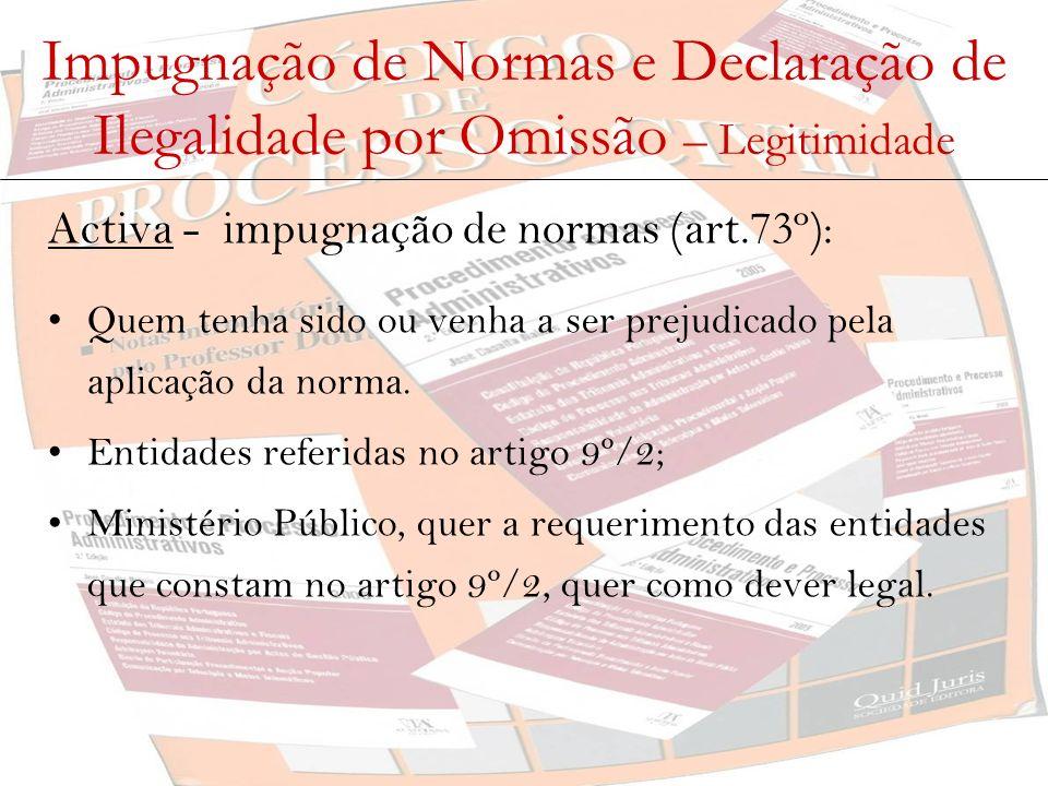 Impugnação de Normas e Declaração de Ilegalidade por Omissão – Legitimidade Activa - declaração de ilegalidade por omissão (art.