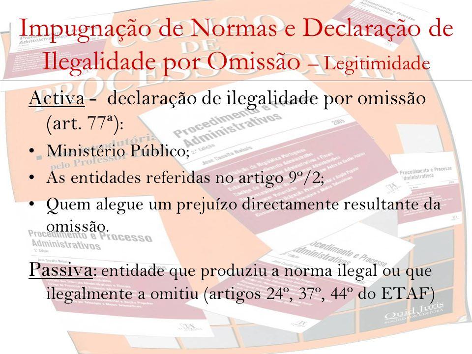 Impugnação de Normas e Declaração de Ilegalidade por Omissão – Oportunidade O artigo 74º estabelece a inexistência de um prazo, pelo que a declaração de ilegalidade, quer de normas, quer de omissões, pode ser pedida a todo o tempo.
