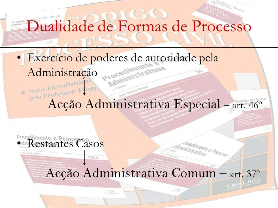 Dualidade de Formas de Processo Exercício de poderes de autoridade pela Administração Restantes Casos Acção Administrativa Especial – art. 46º Acção A