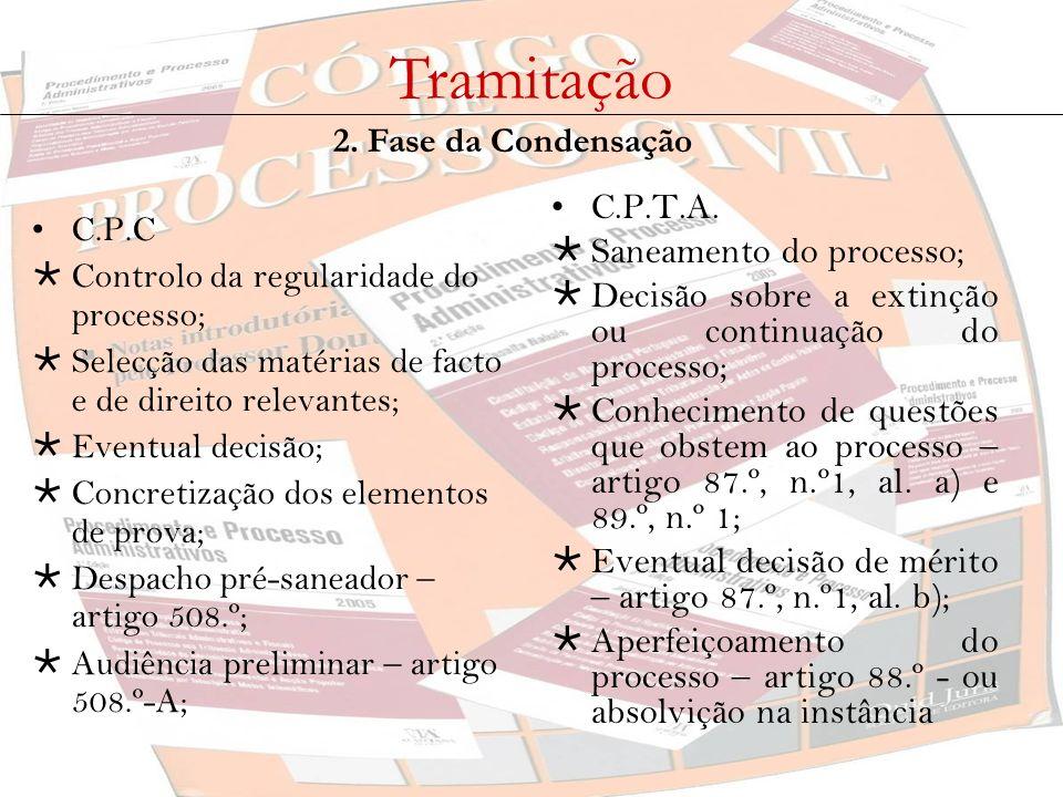 Tramitação 2. Fase da Condensação C.P.C Controlo da regularidade do processo; Selecção das matérias de facto e de direito relevantes; Eventual decisão