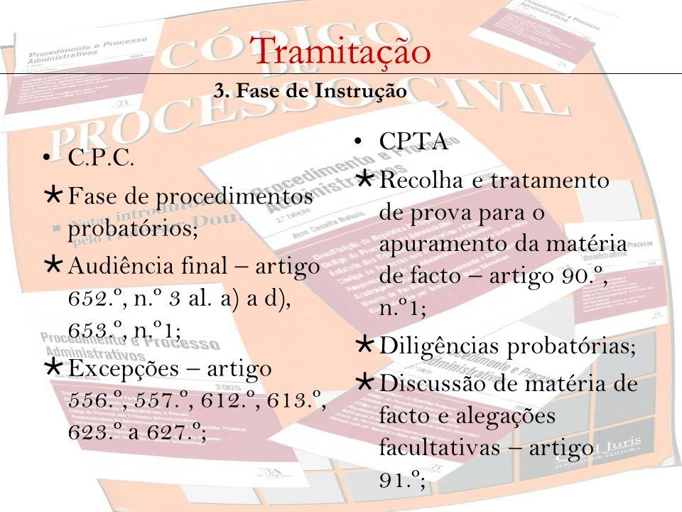 Tramitação 3. Fase de Instrução C.P.C. Fase de procedimentos probatórios; Audiência final – artigo 652.º, n.º 3 al. a) a d), 653.º, n.º1; Excepções –