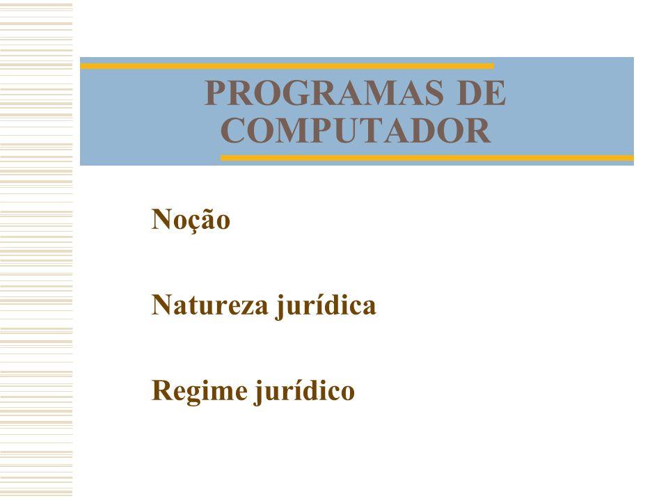 PROGRAMAS DE COMPUTADOR Noção Natureza jurídica Regime jurídico