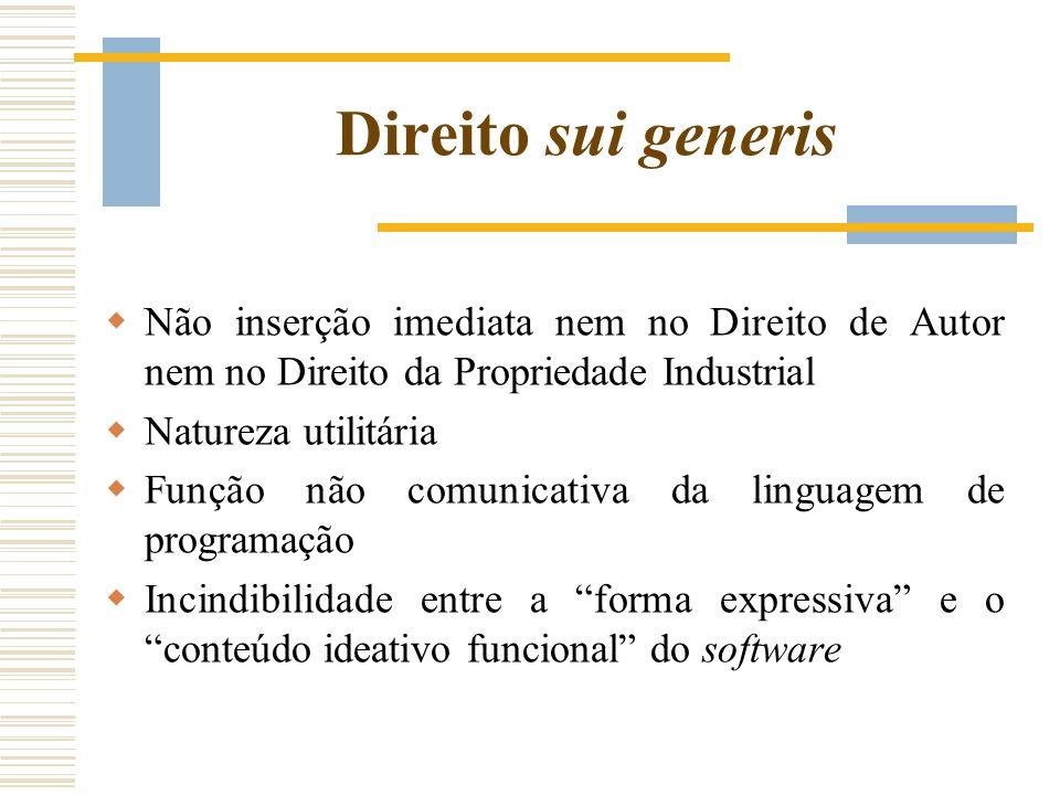 Direito sui generis Não inserção imediata nem no Direito de Autor nem no Direito da Propriedade Industrial Natureza utilitária Função não comunicativa