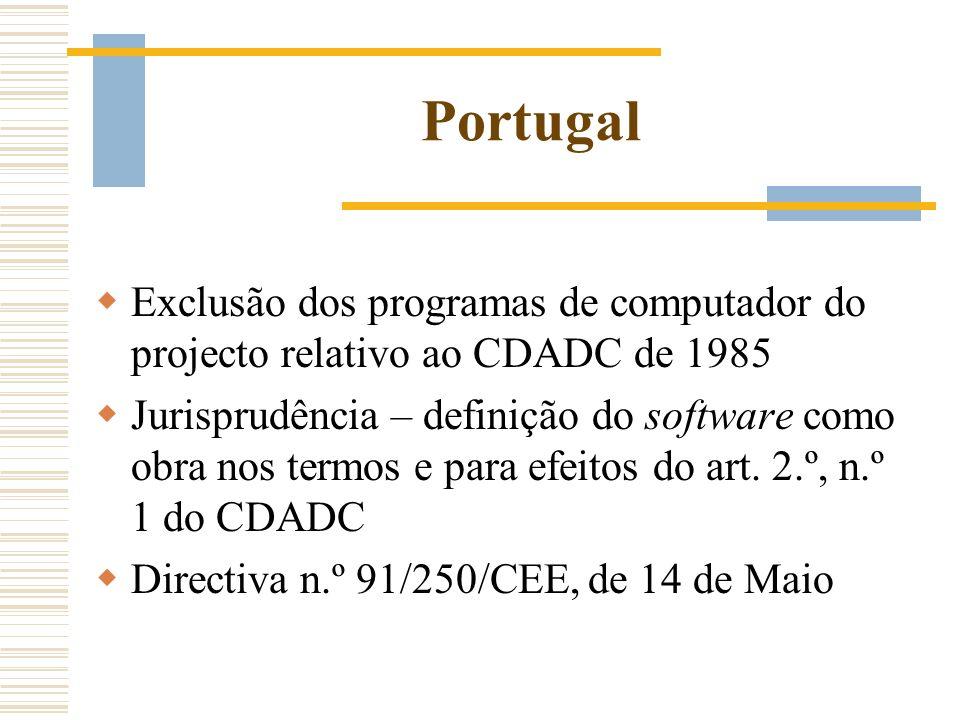 Portugal Exclusão dos programas de computador do projecto relativo ao CDADC de 1985 Jurisprudência – definição do software como obra nos termos e para