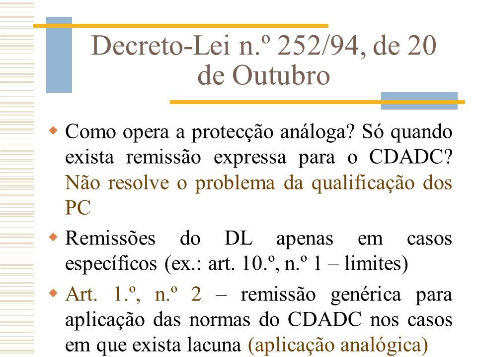 Decreto-Lei n.º 252/94, de 20 de Outubro Como opera a protecção análoga? Só quando exista remissão expressa para o CDADC? Não resolve o problema da qu