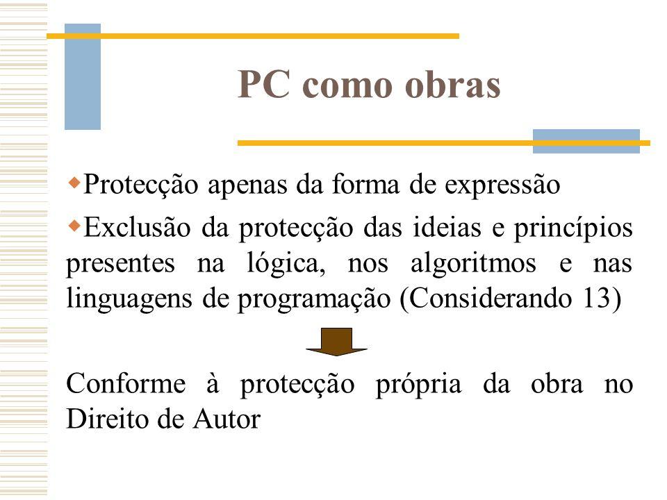 PC como obras Protecção apenas da forma de expressão Exclusão da protecção das ideias e princípios presentes na lógica, nos algoritmos e nas linguagen