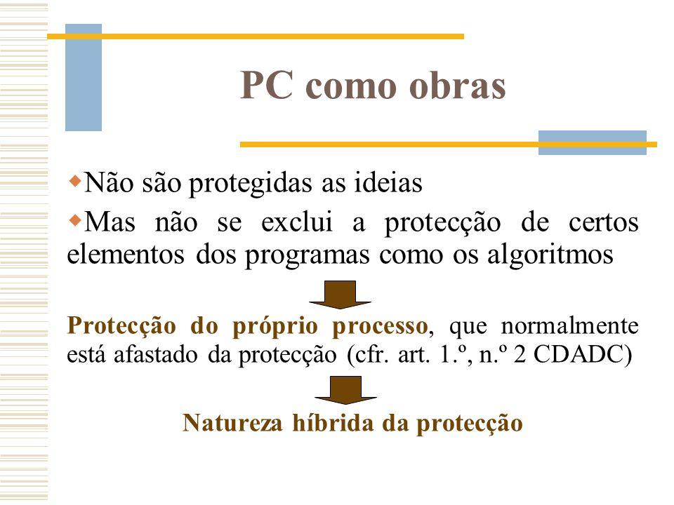 PC como obras Não são protegidas as ideias Mas não se exclui a protecção de certos elementos dos programas como os algoritmos Protecção do próprio pro