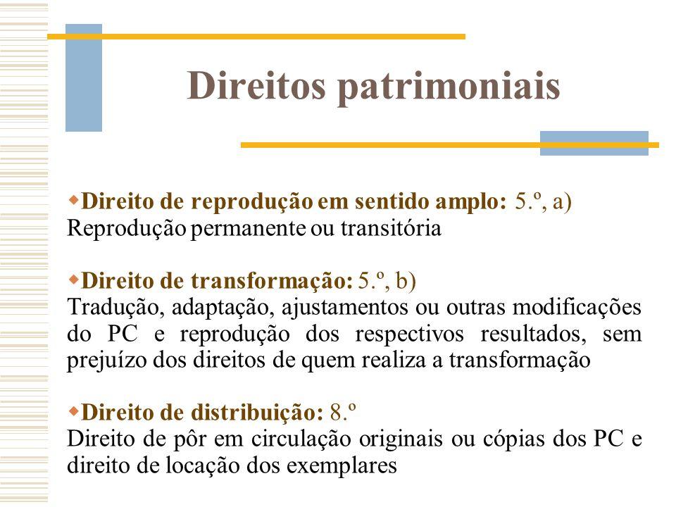 Direitos patrimoniais Direito de reprodução em sentido amplo: 5.º, a) Reprodução permanente ou transitória Direito de transformação: 5.º, b) Tradução,