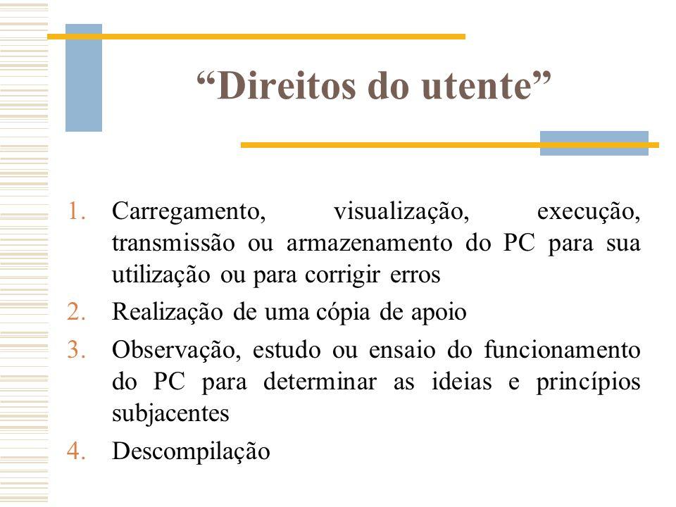 Direitos do utente 1.Carregamento, visualização, execução, transmissão ou armazenamento do PC para sua utilização ou para corrigir erros 2.Realização