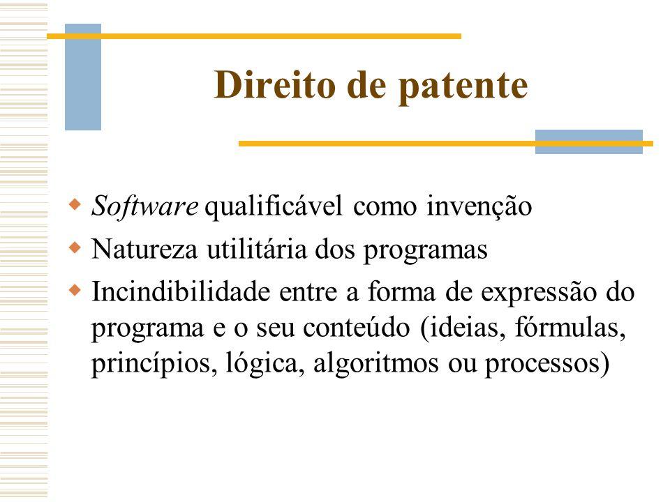 Direito de patente Software qualificável como invenção Natureza utilitária dos programas Incindibilidade entre a forma de expressão do programa e o se