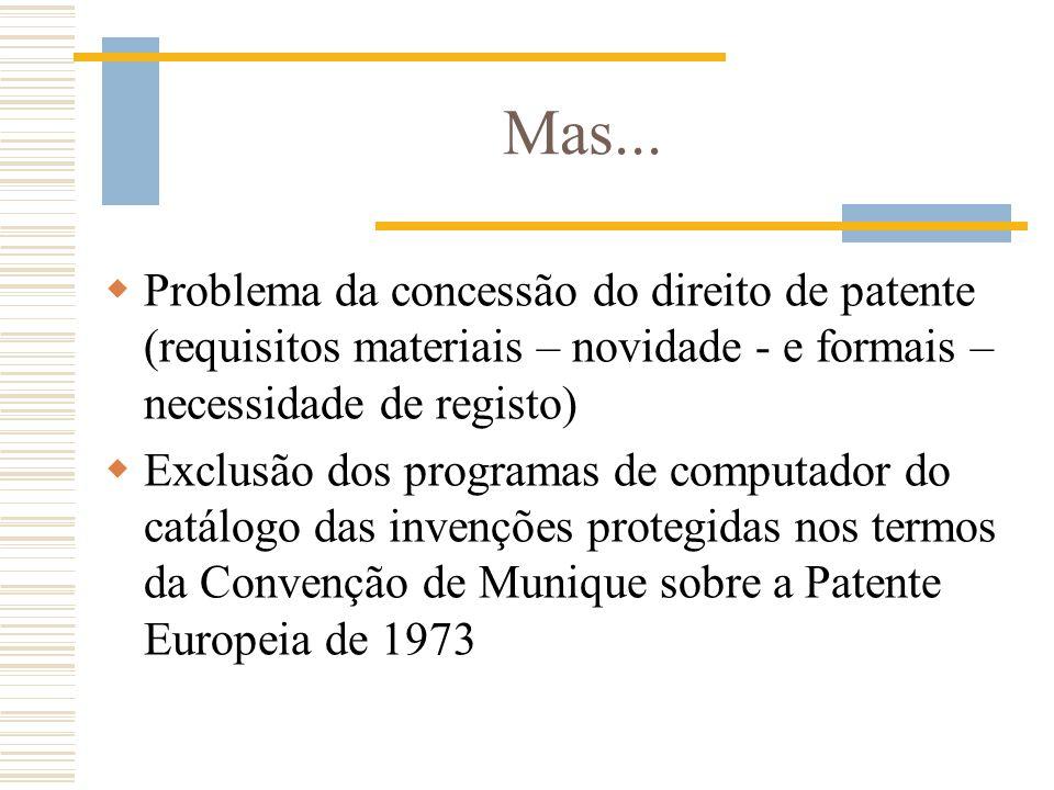 Mas... Problema da concessão do direito de patente (requisitos materiais – novidade - e formais – necessidade de registo) Exclusão dos programas de co
