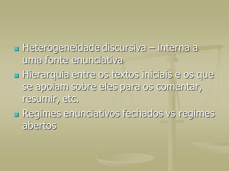 Heterogeneidade discursiva – interna a uma fonte enunciativa Heterogeneidade discursiva – interna a uma fonte enunciativa Hierarquia entre os textos i