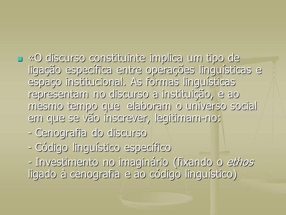 «O discurso constituinte implica um tipo de ligação específica entre operações linguísticas e espaço institucional. As formas linguísticas representam