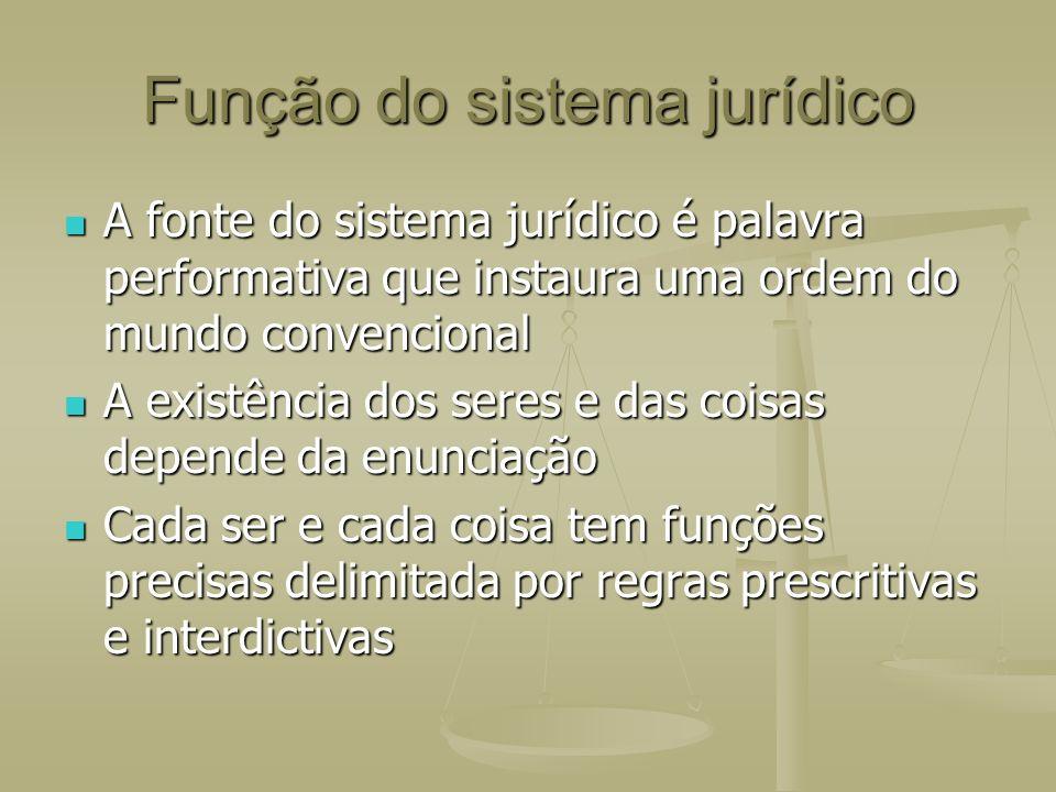 Função do sistema jurídico A fonte do sistema jurídico é palavra performativa que instaura uma ordem do mundo convencional A fonte do sistema jurídico