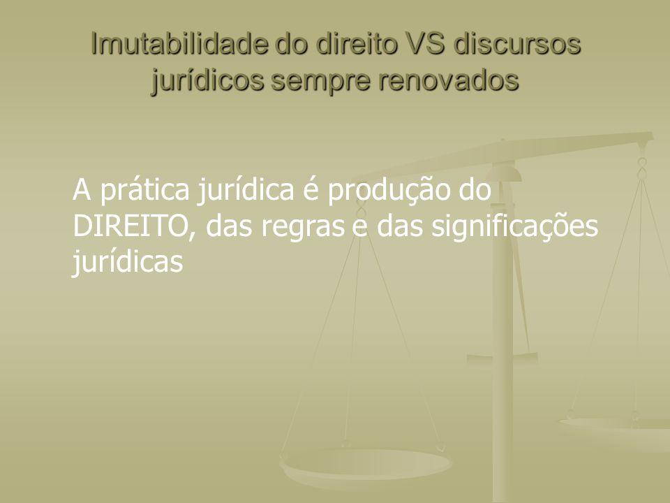 Imutabilidade do direito VS discursos jurídicos sempre renovados A prática jurídica é produção do DIREITO, das regras e das significações jurídicas