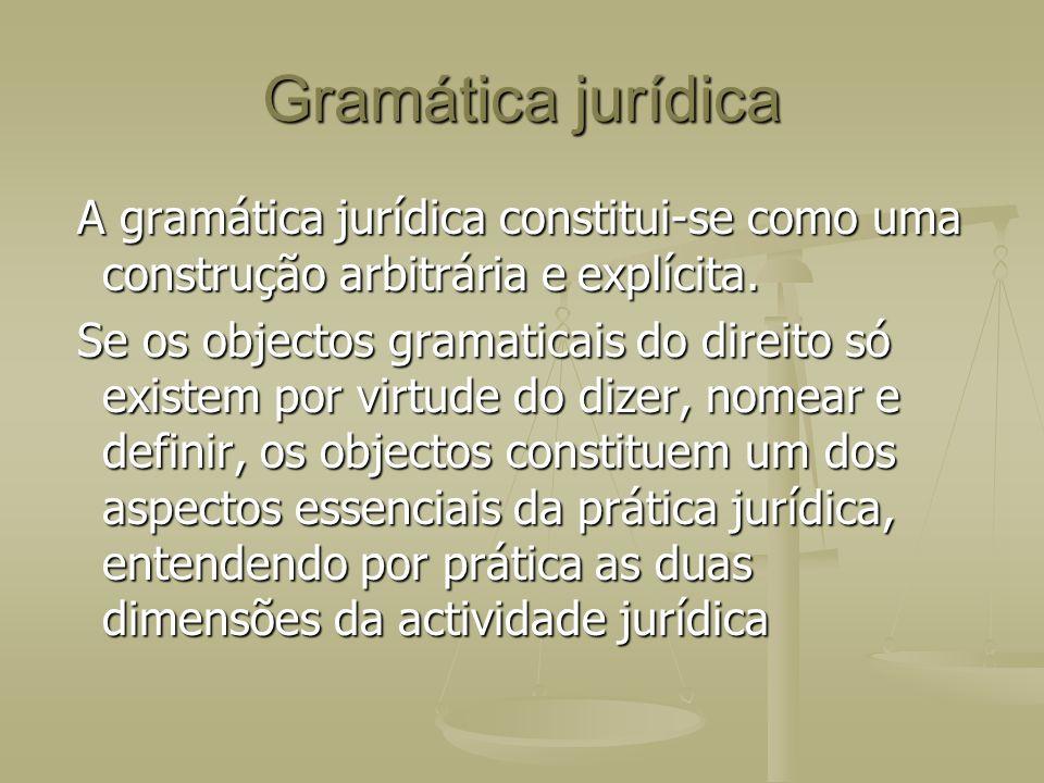 Gramática jurídica A gramática jurídica constitui-se como uma construção arbitrária e explícita. A gramática jurídica constitui-se como uma construção