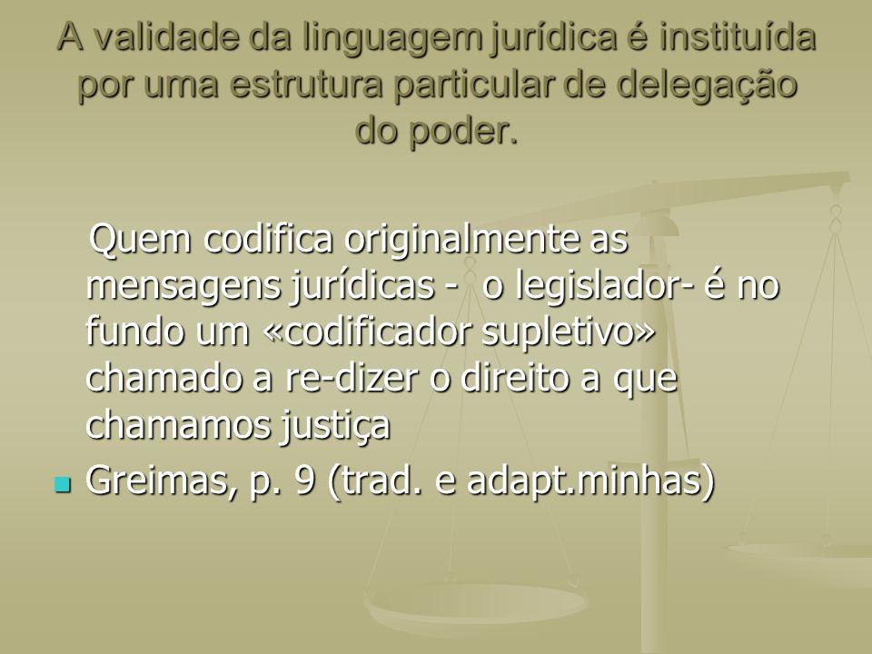 A validade da linguagem jurídica é instituída por uma estrutura particular de delegação do poder. Quem codifica originalmente as mensagens jurídicas -