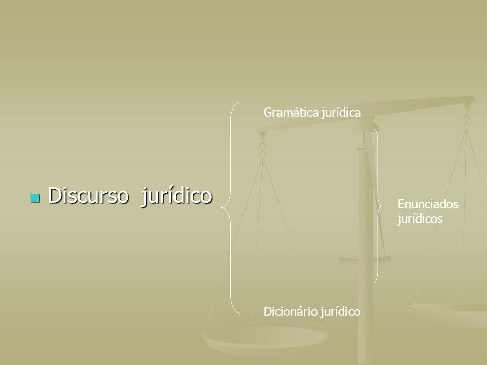 Discurso jurídico Discurso jurídico Gramática jurídica Dicionário jurídico Enunciados jurídicos