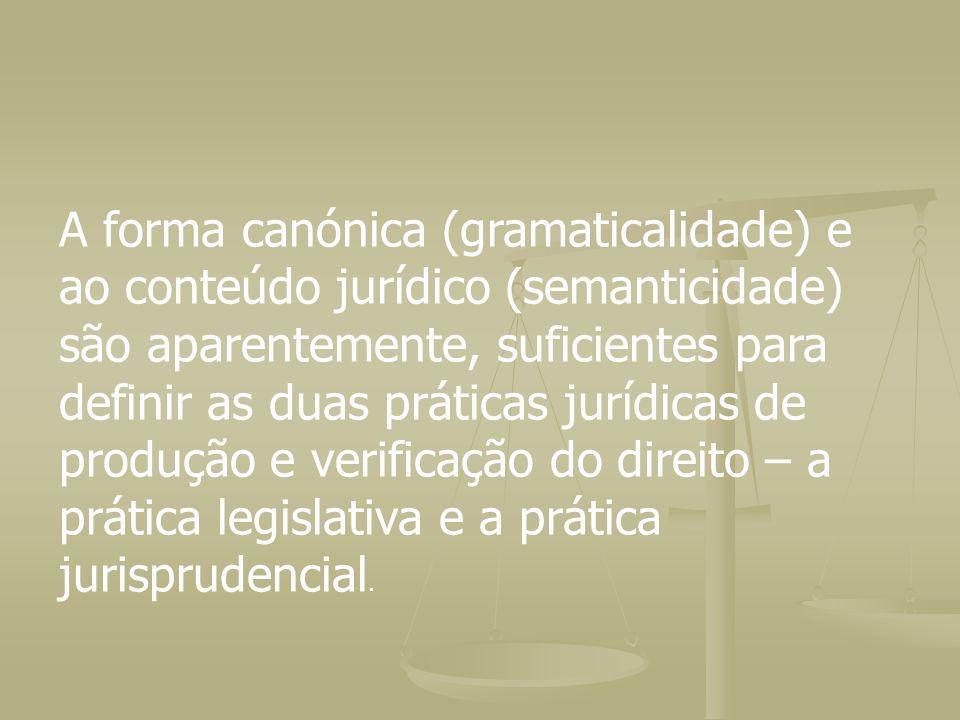 A forma canónica (gramaticalidade) e ao conteúdo jurídico (semanticidade) são aparentemente, suficientes para definir as duas práticas jurídicas de pr