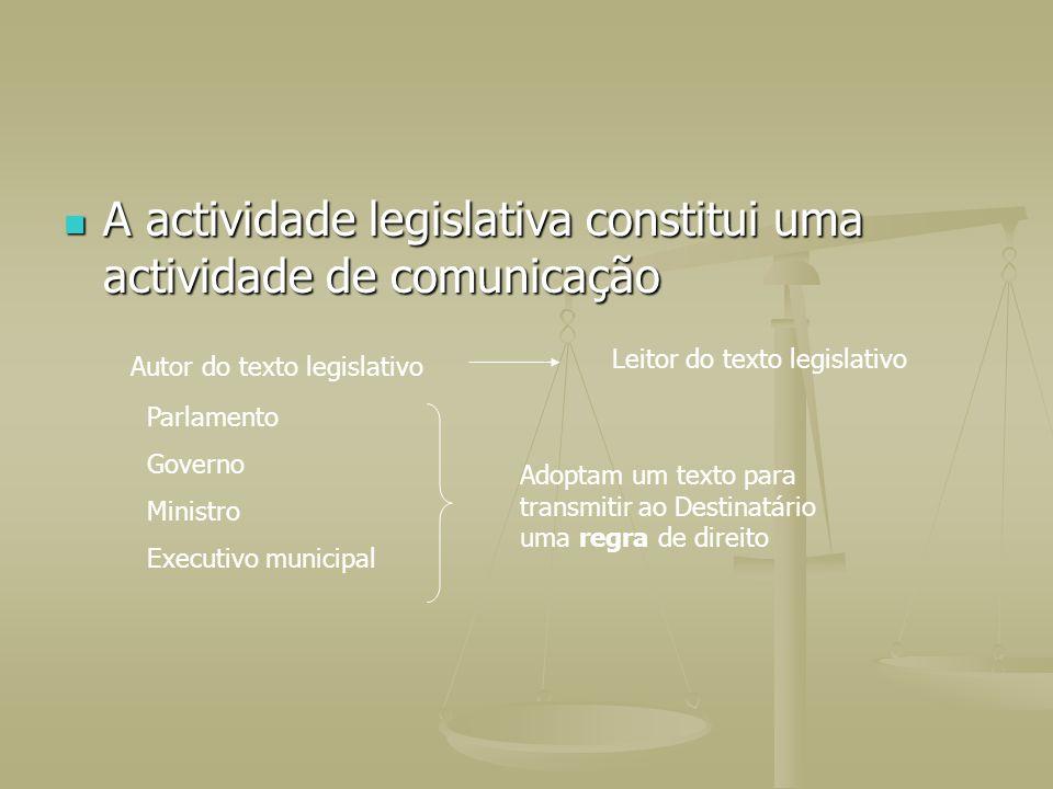 A actividade legislativa constitui uma actividade de comunicação A actividade legislativa constitui uma actividade de comunicação Autor do texto legis
