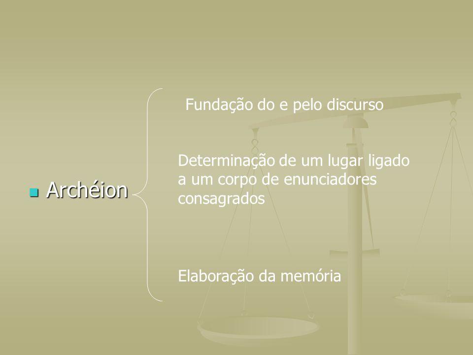 Archéion Archéion Fundação do e pelo discurso Determinação de um lugar ligado a um corpo de enunciadores consagrados Elaboração da memória