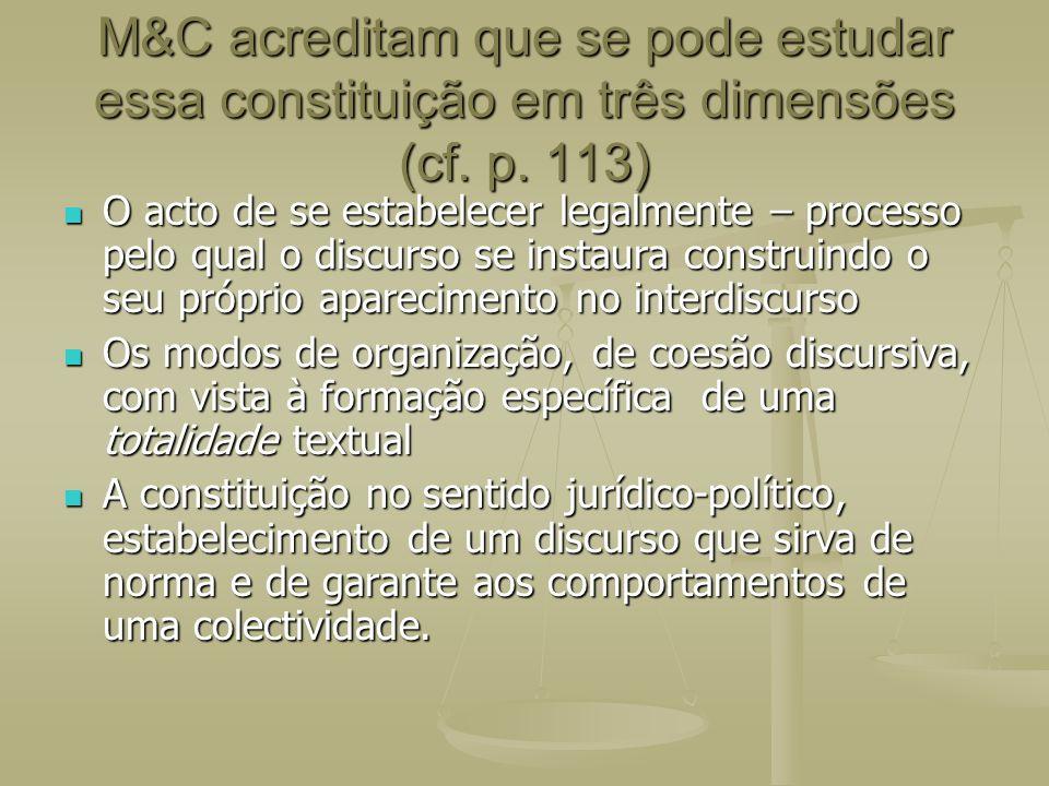 M&C acreditam que se pode estudar essa constituição em três dimensões (cf. p. 113) O acto de se estabelecer legalmente – processo pelo qual o discurso